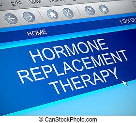concept., hormon, therapie, ersatz
