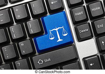 Conceptual keyboard - Law symbol (blue key).