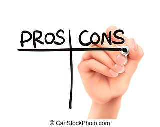 cons, wörter, hand, pros, geschrieben