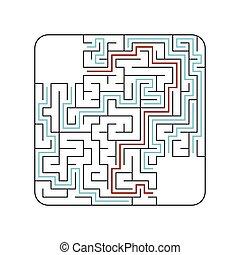 conundrum., spiel, abstact, labyrinth, kids., illustration., children., puzzel, labyrinth., vektor