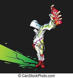 Cooler Typ mit Sprühfarbe