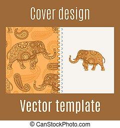 Cover Design mit indianischem Elefantenmuster