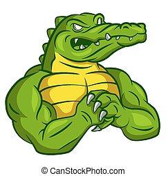 Crocodile starkes Maskottchen.