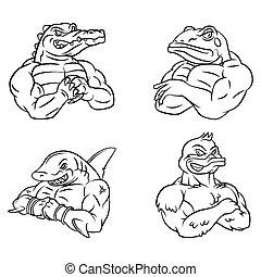 Crocodile,frog,shark und duck.