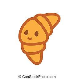 Croissant doodle Maskottchen Charakter Emoji. Komischer Krokodil-Emoticon. Isolierte Vektorgrafik.