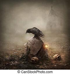 Crow sitzt auf einem Grabstein.