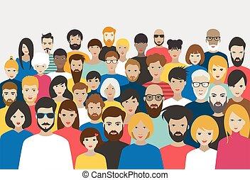 crowd, vector., verschieden, groß, leute., gruppe