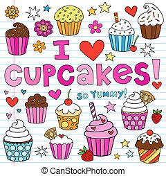 Cupcakes-Doodles-Vektor-Set