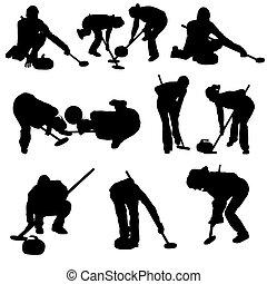 Curling Silhouette-Set