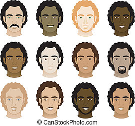 Curly afro men face