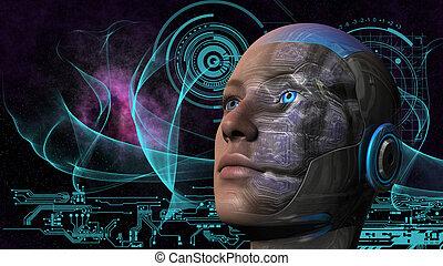 cyborg, frau, -, humanoid