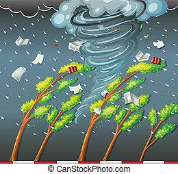 Cyclone hat den Baum getroffen.