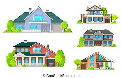 dächer, gebäude, windows, heimhaus, oder, türen