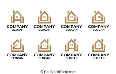 daheim, abzeichnen, haus, monogram, brief, design, satz, logo, gebäude, schablone