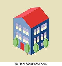 daheim, isometrisch, bäume