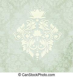damast, weinlese, seamless, elegant, hintergrund, karte, (background