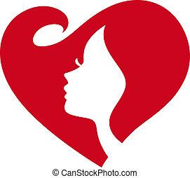 dame, silhouette, weibliche , rotes herz