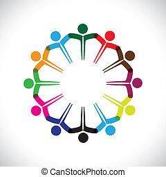 darstellen, begriff, leute, graphic-, gemeinschaftsarbeit, zusammen., kinder, &, auch, einheit, angestellter, vernetzung, spielende , andersartigkeit, abbildung, versammlung, hände, kinder, dieser, heiligenbilder, usw, vektor, buechse, oder