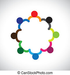 darstellen, grafik, diversity., andersartigkeit, kinder, &, dieser, formung, spielende , leute, kinder, auch, begriff, gemeinschaftsarbeit, buechse, halten hände, enthält, mannschaft, korporativ, circle.