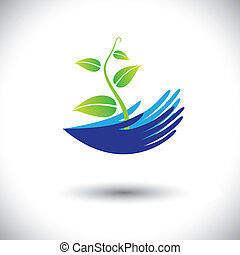 darstellen, pflanze, begriff, buechse, icon(symbol)., setzling, frau, graphic-, hände, usw, abbildung, begriffe, umwelt, vektor, wald, schuetzen, betriebe, erhaltung, oder, mögen