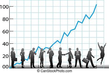 Das Business-Team nimmt Firmenwachstum auf
