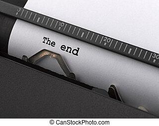 """""""das Ende"""" Nachricht von der klassischen Schreibmaschine."""