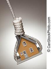 Das Haus ist gefesselt und hängt in der Schlinge