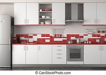 Das Interieur der modernen roten Küche.