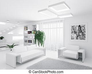 Das Interieur des modernen Wohnzimmers.
