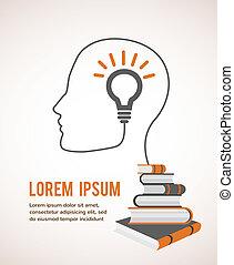 Das Konzept der modernen Bildung. Infographische Vorlage mit Profilkopf, Leuchtstoff und Büchern