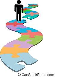 Das Problem der Person, dass ein Puzzle fehlt, findet eine Lösung
