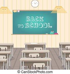 Das Schulinnere ist Klasse mit Schultafel und Schreibtischen. Vector flache Zeichentrickfigur