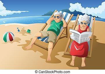 Das Seniorenpaar genießt ihren Ruhestand.
