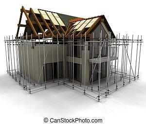 Das zeitgenössische Haus mit Gerüst