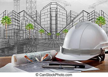 Datei von Sicherheitshelm und Architekt geplant auf Holztisch mit Sonnenuntergang Szene und Baukonstruktion.