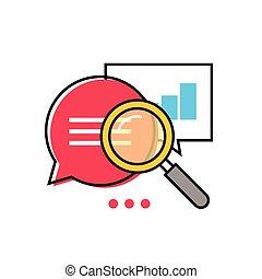 Datenanalyse-Vektor-Icon, Analyse der Informationsstatistik, Suchmaschinenoptimierung.