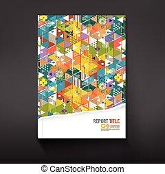 Decken Sie bunte Dreiecksgeometrie Hintergrund für Corporate Business Template Design, Vektorgrafik.