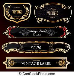 Decorative schwarze goldene Etiketten. Vector