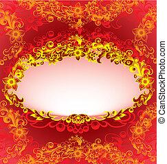 Decorativer roter Blumenrahmen