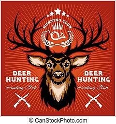 Deers Jagd Club Embleme gesetzt.