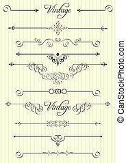 dekor, elemente, design, seite, calligraphic