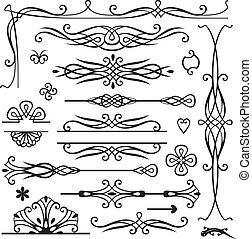 dekoration, retro, seite