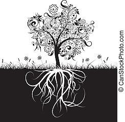Dekorationsbaum und Wurzeln, Gras, Vektor