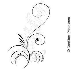 dekorativ, abbildung, blumen-, flourishes, wirbeln, vektor, element