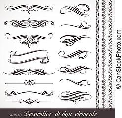 dekorativ, dekor, elemente, &, vektor, design, seite