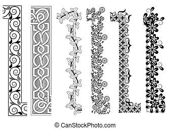 dekorativ, inner, seamless, muster, ecke, umrandungen, äußer