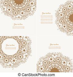 dekorativ, satz, vier, design, weinlese, element