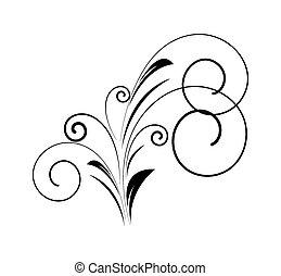 dekorativ, wirbel, blumen-