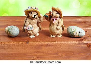 dekorative eier, zwei, holz, hintergrund, osterhase