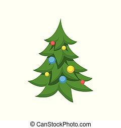 Dekorierter Weihnachtsbaum Cartoon Vektor Illustration.